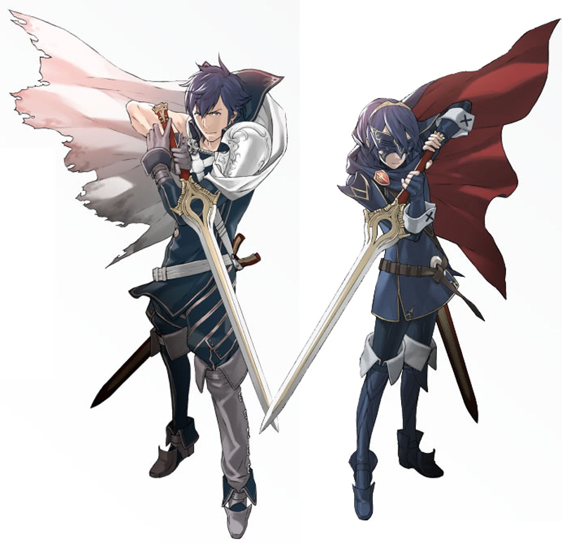 Left: Chrom; Right: Marth!  Both wielding their Falchions.