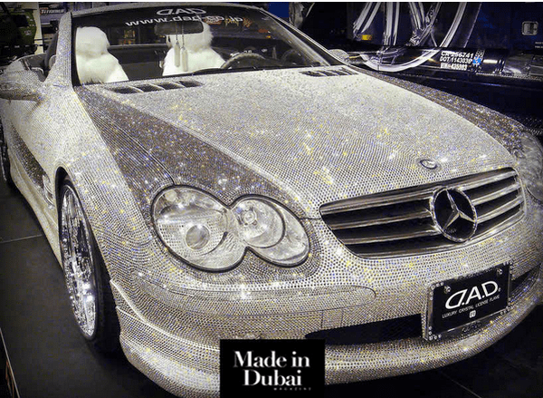 The angular front of The diamond-studded Mercedes-Benz of Prince Alwaleed