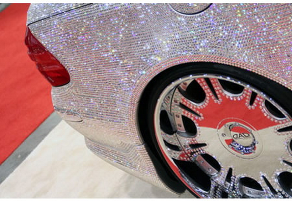 The rear wheel of The diamond-studded Mercedes-Benz of Prince Alwaleed