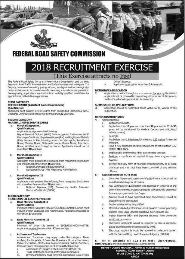 Federal Road Safety Corps recruitment poster