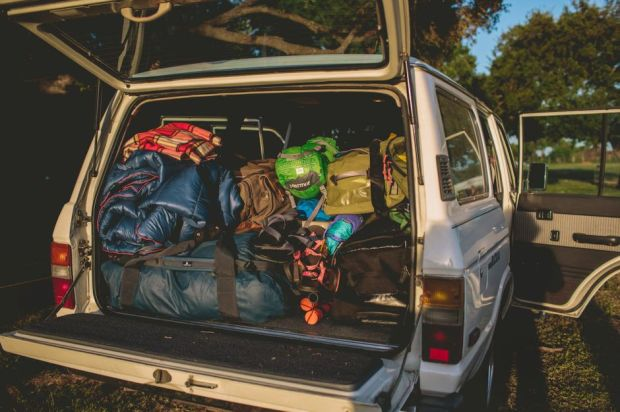 a car filled with junks