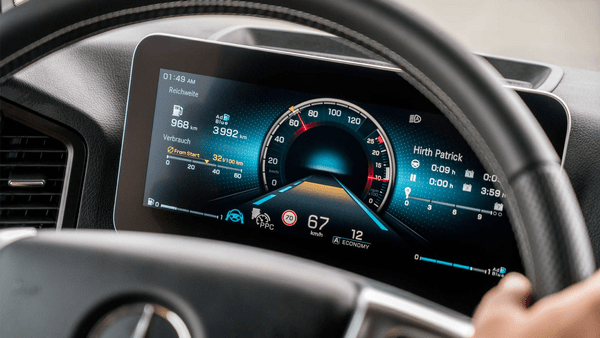 The display in the cabin of the Mercedes-Benz Atros 2019