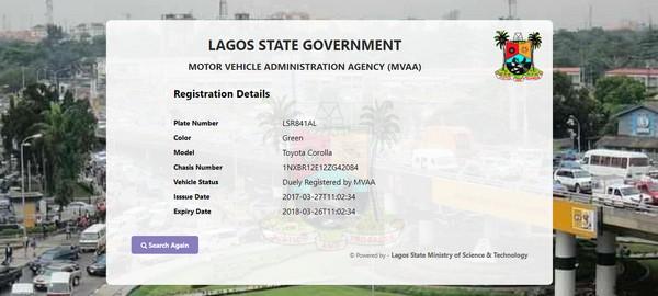 Lagos MVAA number plate tracker