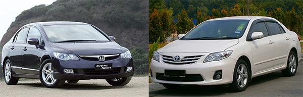 2008-Toyota-Corolla-vs-Honda-Civic-Front-view
