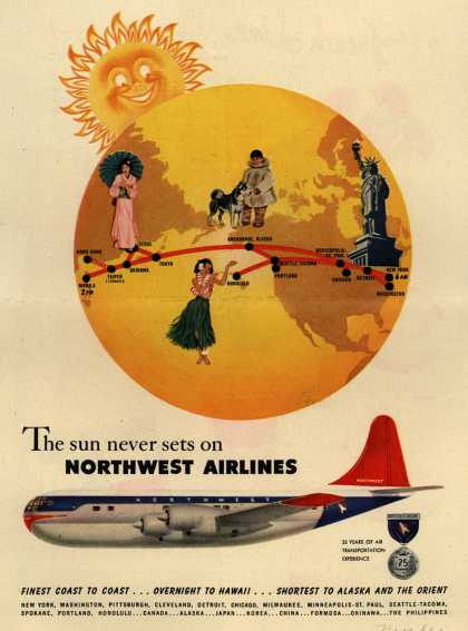 Northwest Airlines – The sun never sets on Northwest Airlines (1951)