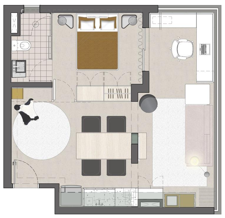 sơ đồ bố trí mặt bằng căn hộ 45m2.