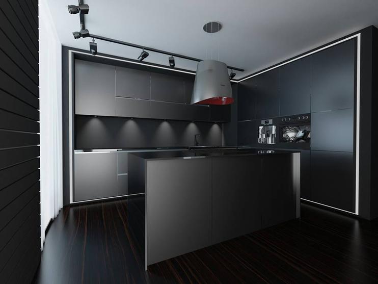 căn bếp màu đen nhám