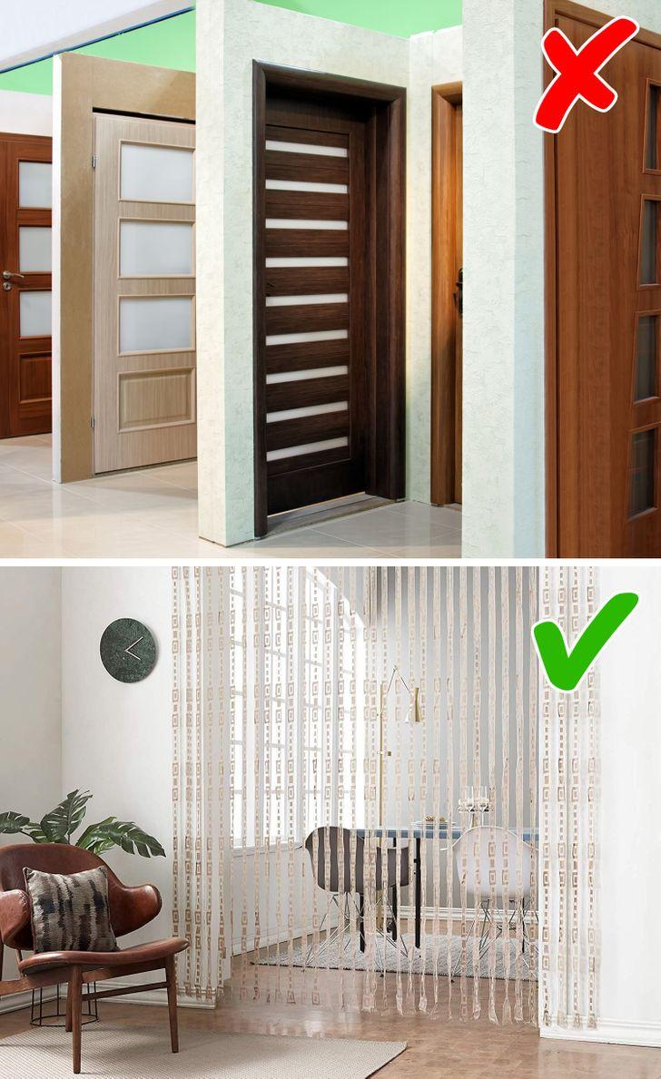 Dùng rèm cửa phân chia không gian thay vì đầu tư cửa trong nhà