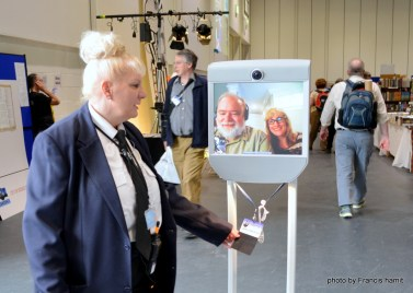 Officer Sue Smith Interrogates Brad Templeton, attending Loncon 3 via telepresence.