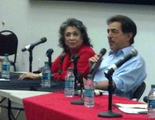 Liz Torres, Joe Mantegna on panel at Pomona Library fundraiser.