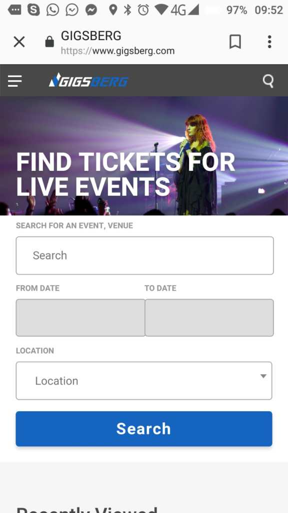florence and the machine gigsberg.com concert ticket marketplace mobile website homepage on Android 2019-02-06