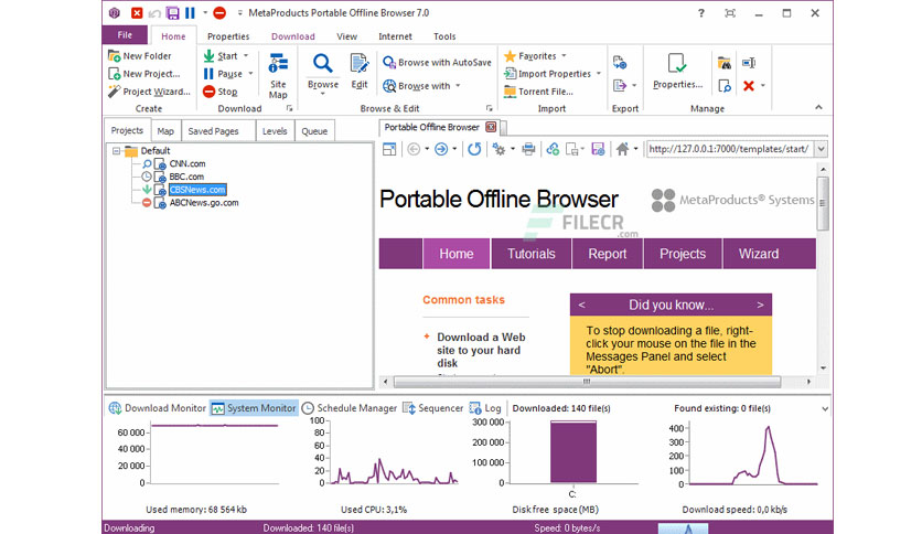 MetaProducts Portable Offline Browser 8.0.4880