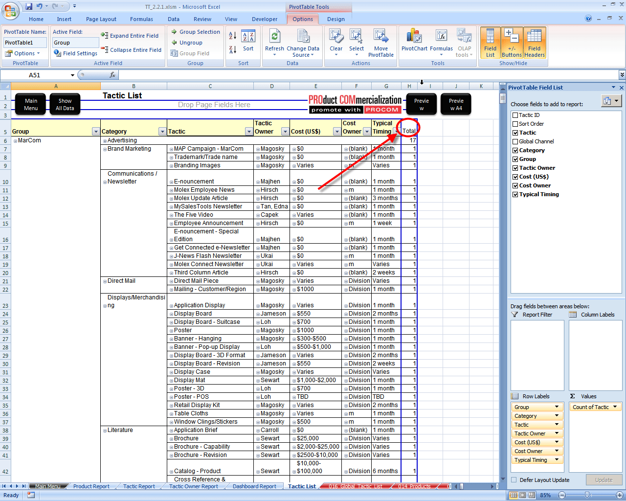 Excel Pivot Table How To Rename Subtotal Column