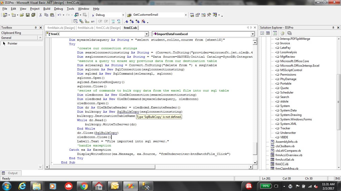Import Excel Spreadsheet Data Into Sql Server Table Via Vb Visual Studio Error