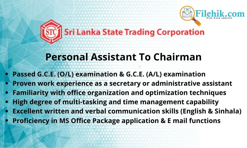 Personal Assistant To Chairman