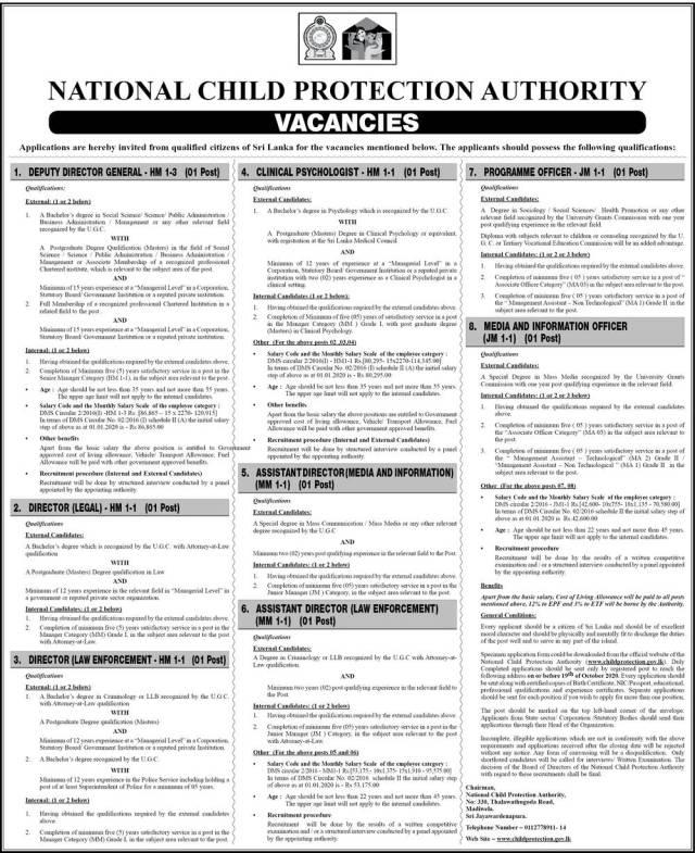 Deputy Director General, Directors, Clinical Psychologist, Assistant Director, Programme Officer, Media And Information Officer