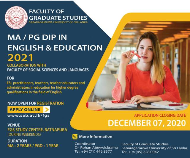 Ma / Pg Dip In English &Amp; Education 2021