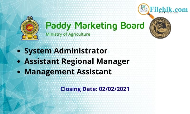 System Administrator, Assistant Regional Manager, Management Assistant- Paddy Marketing Board