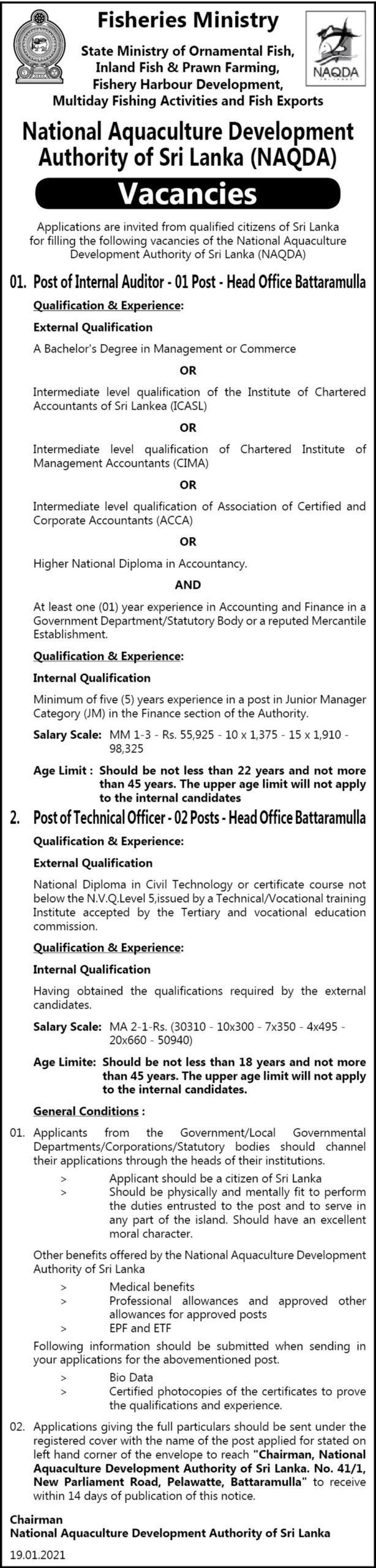 Internal Auditor, Technical Officer - Naqda