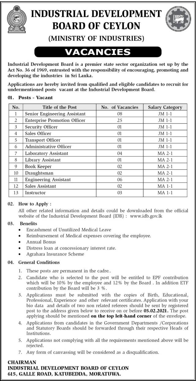 Industrial Development Board Of Ceylon (Ministry Of Industries) Vacancies