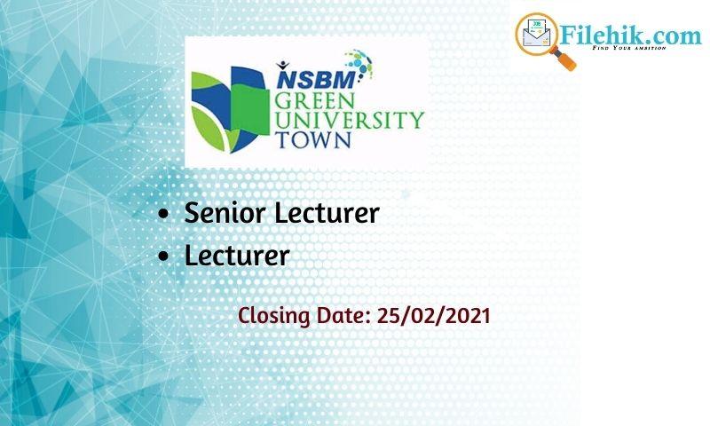 Senior Lecturer, Lecturer – Nsbm Green University