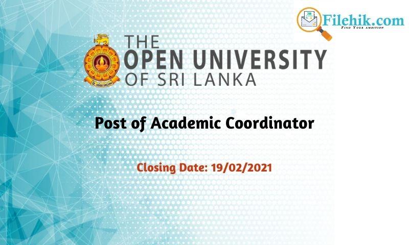 Post Of Academic Coordinator – The Open University Of Sri Lanka
