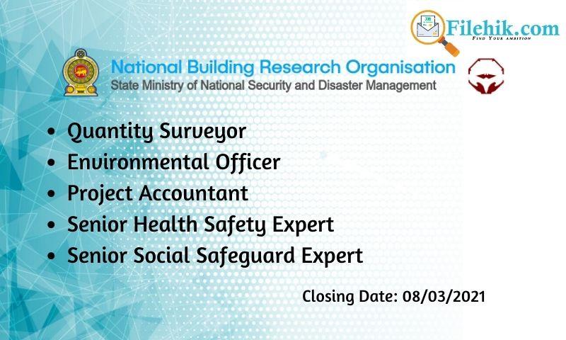 Quantity Surveyor, Environmental Officer, Project Accountant, Senior Health Safety Expert, Senior Social Safeguard Expert – Nbro