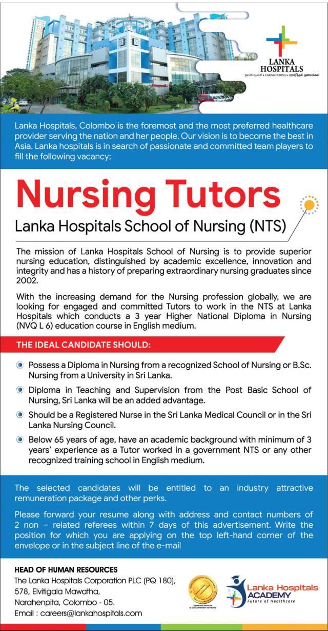 Nursing Tutors - Lanka Hospitals School Of Nursing