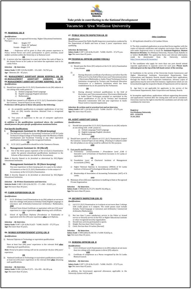 Vacancies - Uva Wellassa University