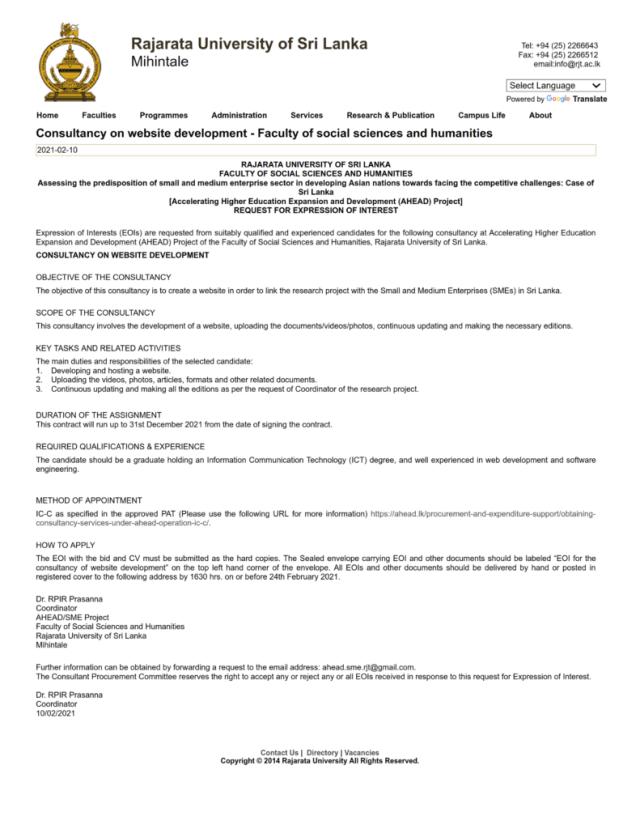 Consultancy On Website Development - Rajarata University Of Sri Lanka