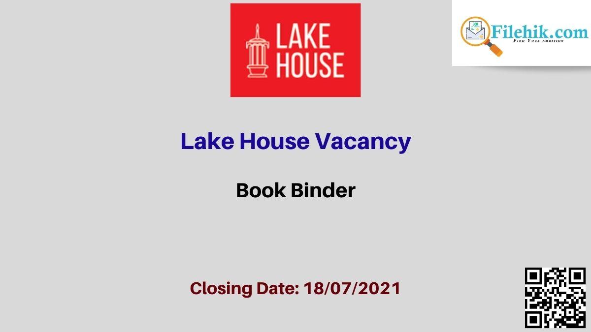Book Binder – Lake House Career Opportunities 2021