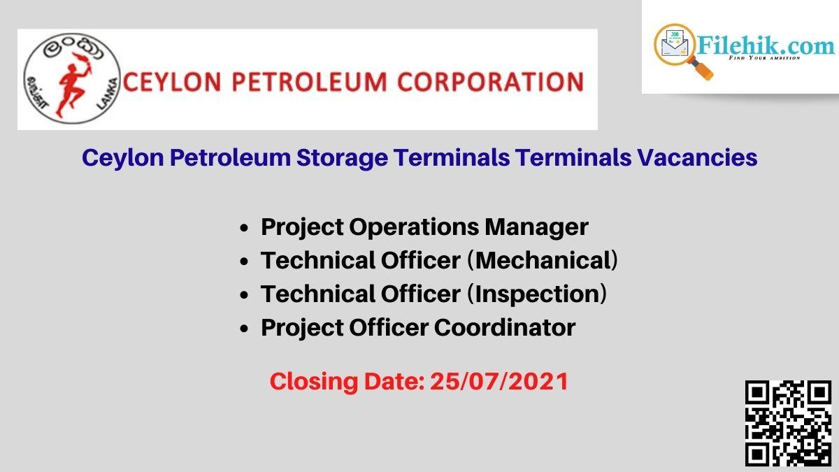 Ceylon Petroleum Storage Terminals Career Opportunities 2021