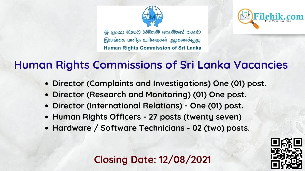 Human Rights Commissions Of Sri Lanka Career Opportunities 2021