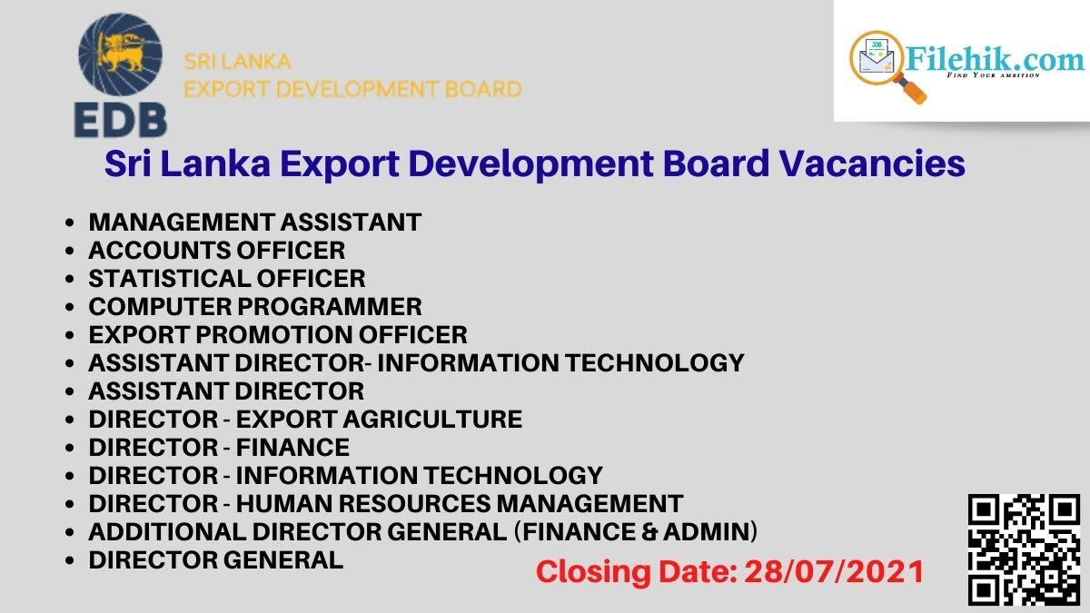 Sri Lanka Export Development Board Career Opportunities 2021