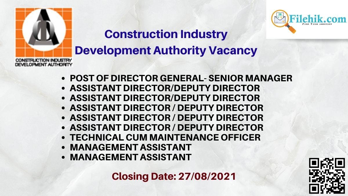 Construction Industry Development Authority Career Opportunities 2021