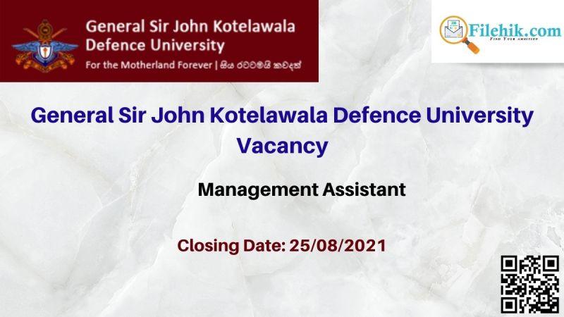 General Sir John Kotelawala Defence University Vacancy