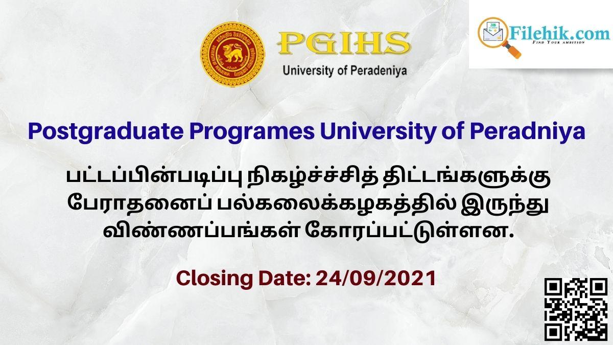 Postgraduate Programes University Of Peradniya 2021