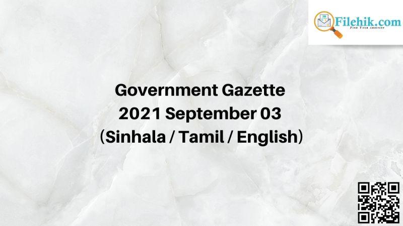 Government Gazette 2021 September 03