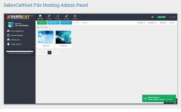 SaberCatHost Filehost Admin Panel
