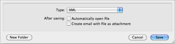 XML type text export dialog