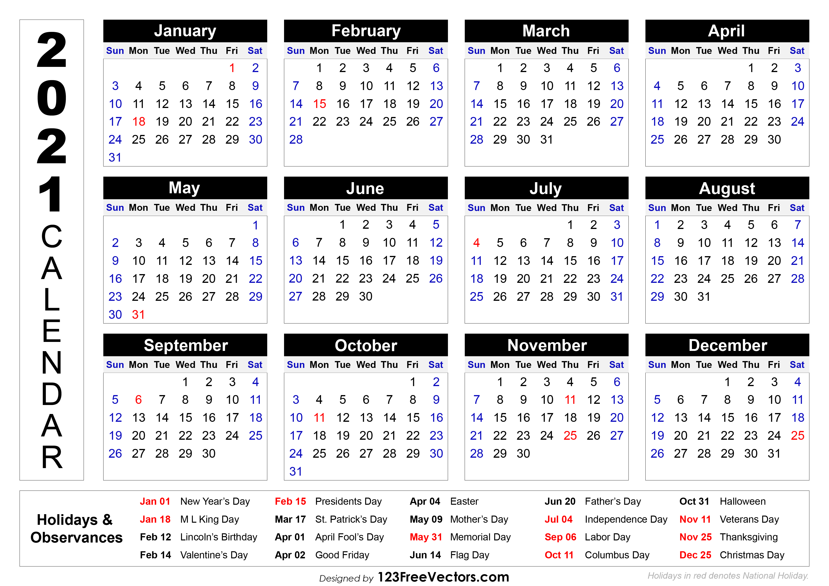 Our editors independently research, test, and recommend the best products; Free 2021 Printable Calendar with Holidays