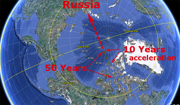 Image result for magnetic north pole rapidly moving towards russia