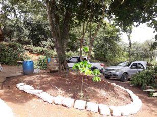 Calebes retiraram lixos e decoraram quintal com pedras