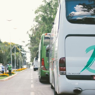 Ônibus formam fila para o desembarque de desbravadores (Foto: Ellen Lopes)