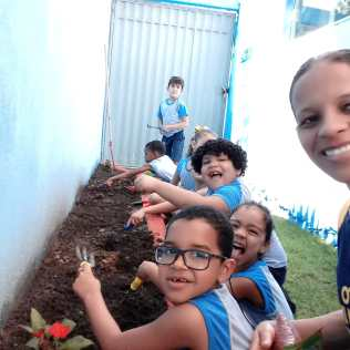 Os alunos da Educação infantil cultivaram hortaliças e levaram para casa para serem usadas na alimentação
