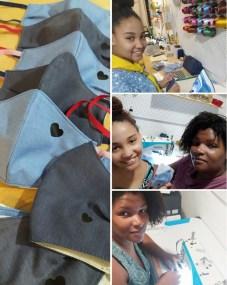 Helen e Luiza (mãe e filha) empenhadas na confecção de mpascaras