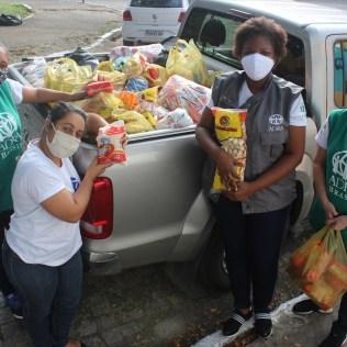 Casa de Lió recebe doação de meia tonelada de alimentos e produtos de limpeza e higiene pessoal.(Foto: Evellin Fagundes)