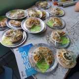 Pizzas com textos bíblicos preparadas pela juventude de Chapecó. [Foto: Maria Eduarda Piason].