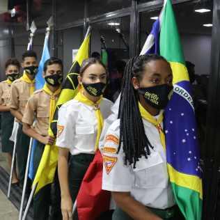 Uma representação dos desbravadores de Itabuna participaram da solenidade. (Foto: Evellin Fagundes)