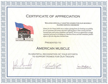 Homes For Our Troops Certificate of Appreciation